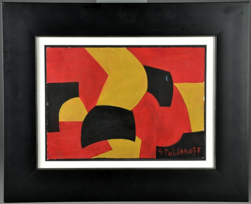 Serge Poliakoff Oil Painting On Card Stock