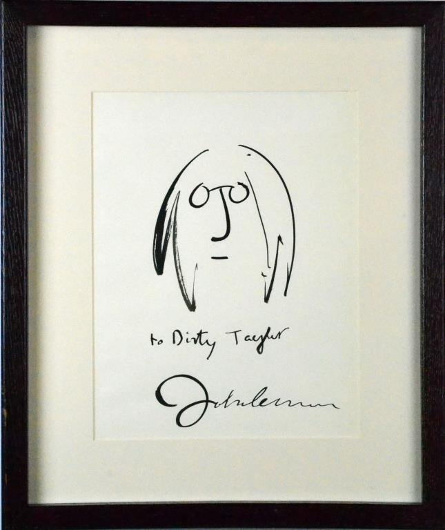 John Lennon Ink Drawing on Paper
