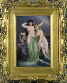 K.P.M. Berlin Painted Porcelain Plaque-Three Sirens