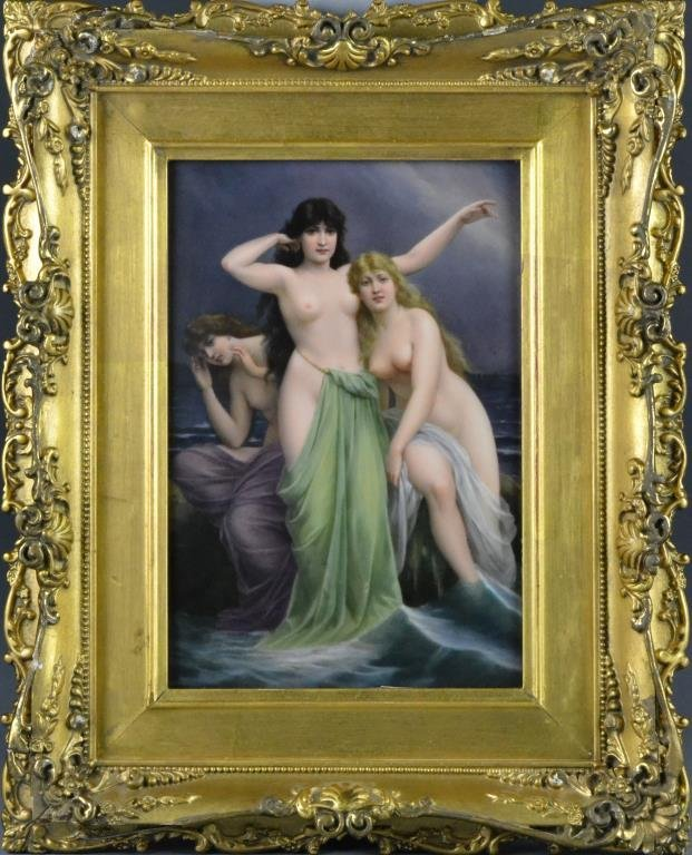 K.P.M. Berlin Painted Porcelain Plaque-Three Sirens