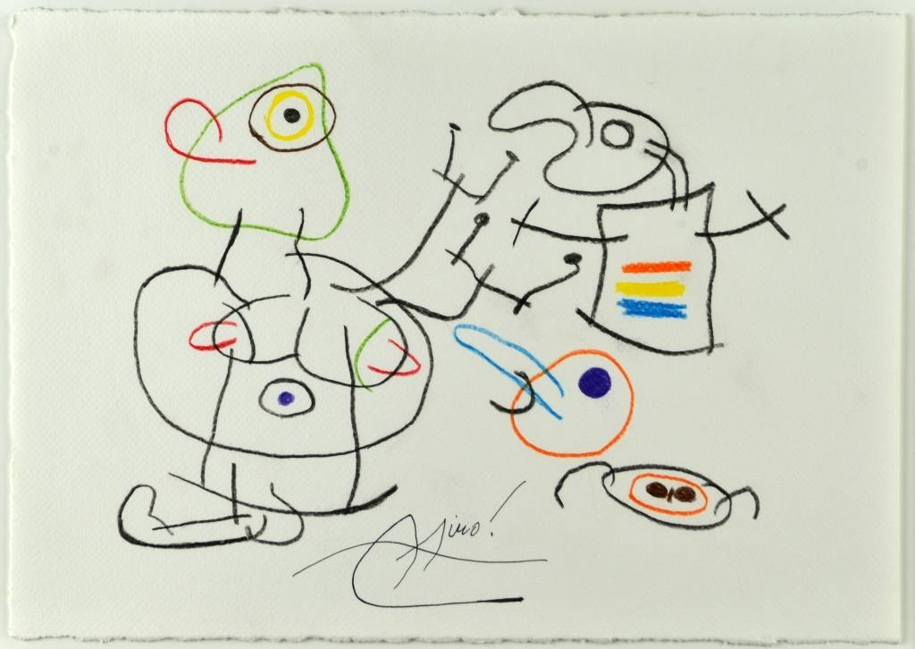 Manner of Joan Miro Conte Crayon on Heavy Paper - 2