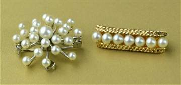 2 Ladies Pearl Brooches Including 14k Gold