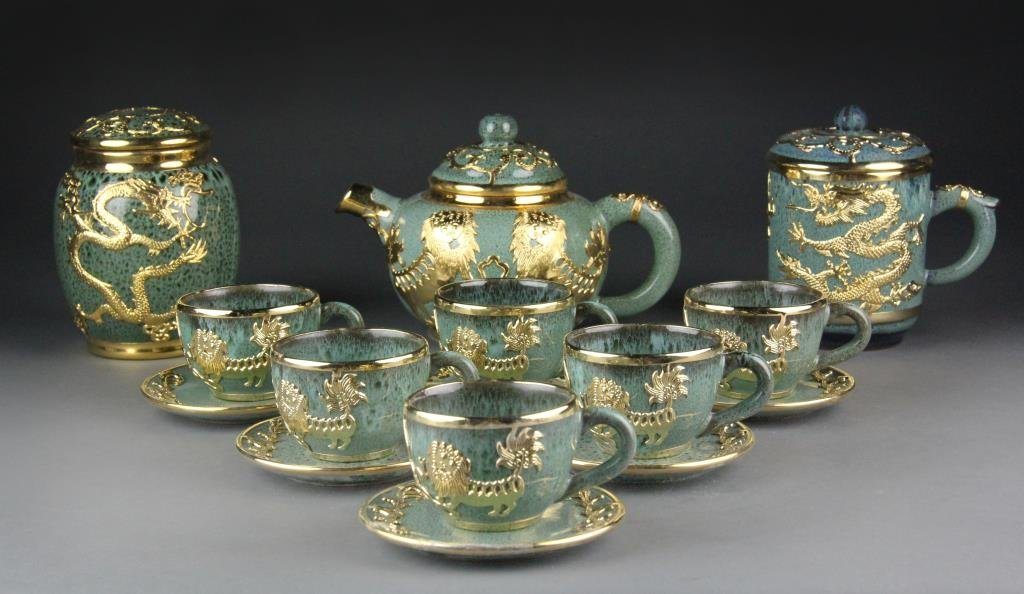 (14) Pc. Chinese Yixing StyleTeaset - Green with Gilt F