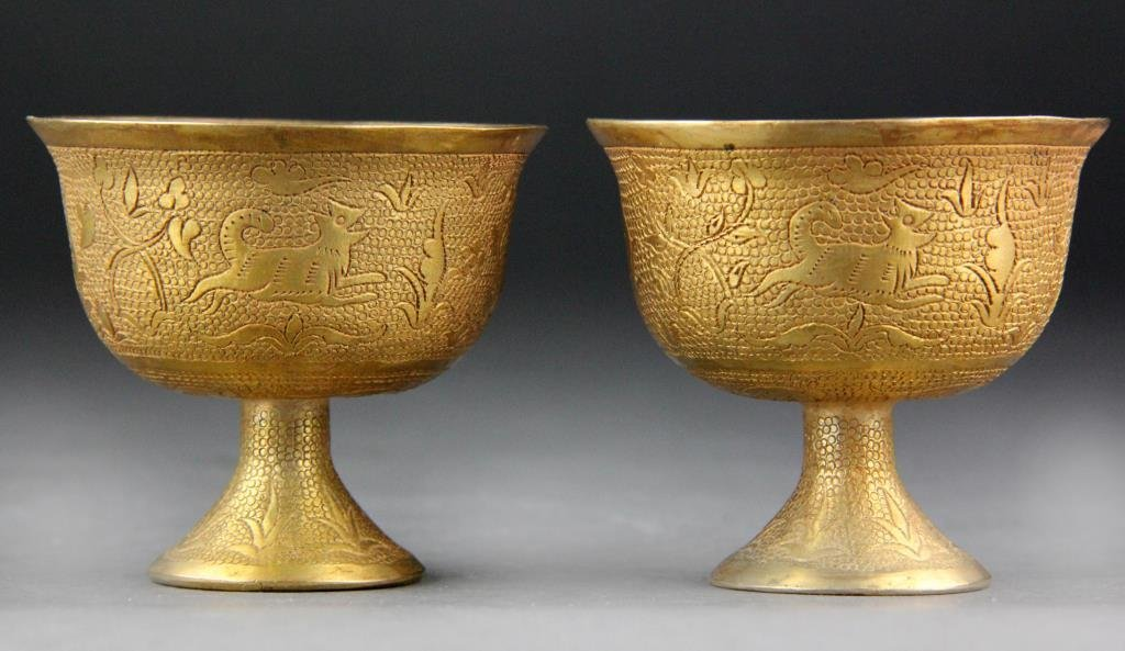 Pair Chinese Gilt Bronze Song Archaic Footed  Wine Cups