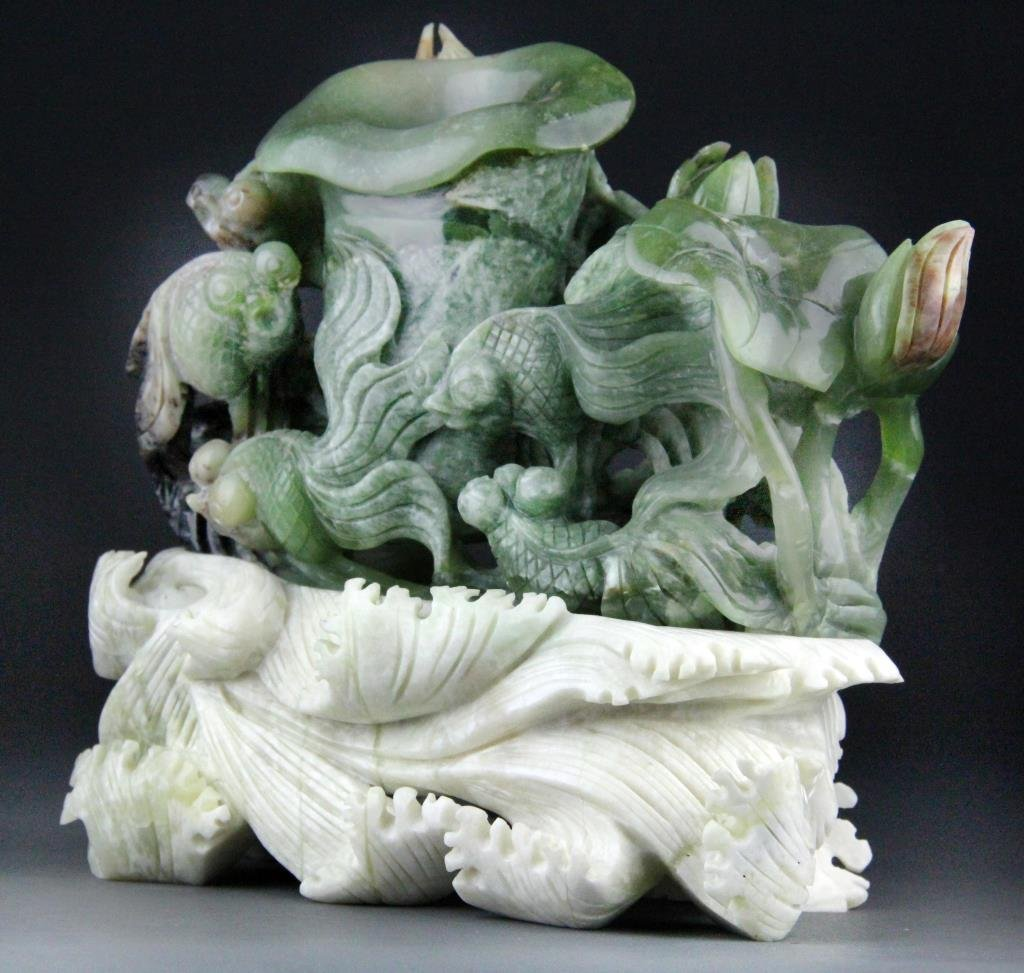 Chinese Jade Carving of Goldfish and Lotus