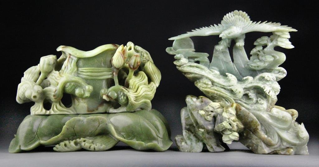 (2) Chinese Jade Carvings of Eagle and Goldfish hh