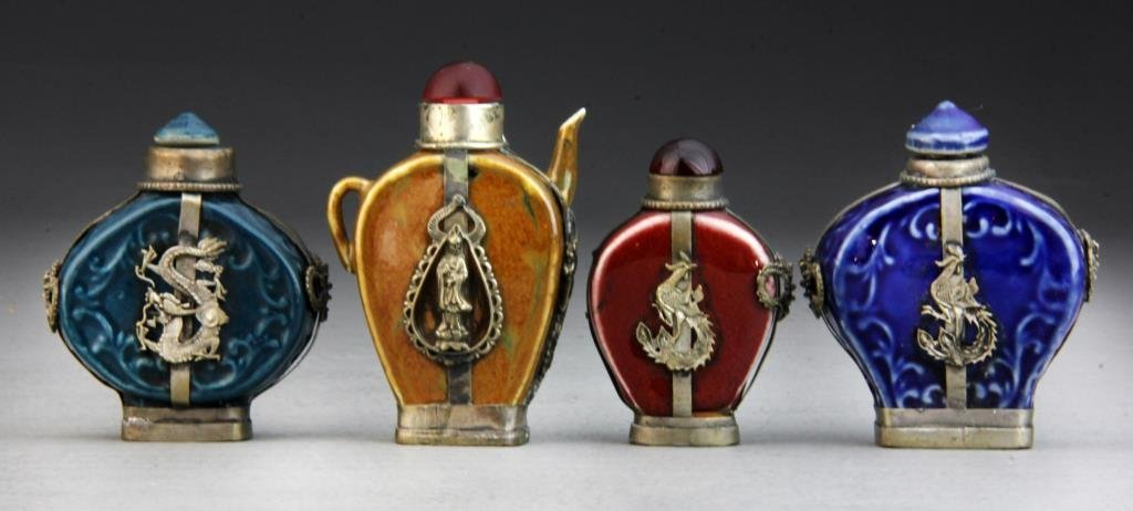 (4) Pcs Chinese Peking Glass Snuff Bottles