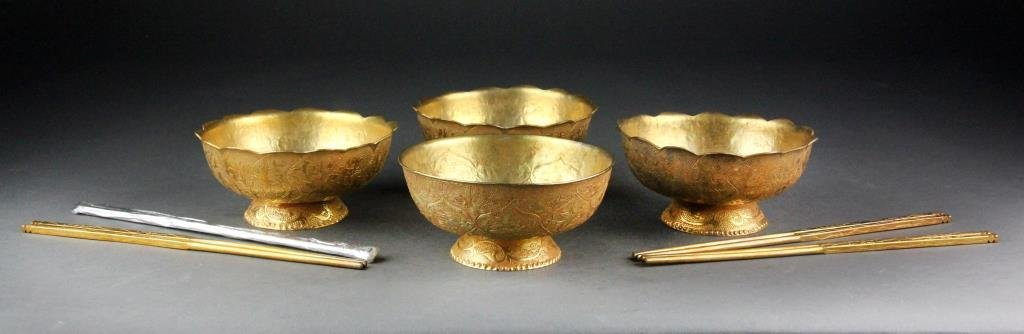 (4) Chinese Gilt Bronze Song Archaic Rice Bowls & Chops