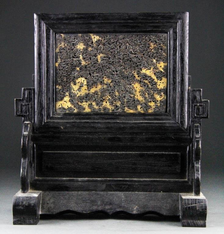 Chinese Faux Tortoise Shell Plaque on Stand