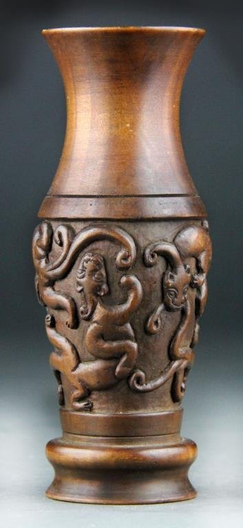 Chinese Bamboo Carved Scholars Vase