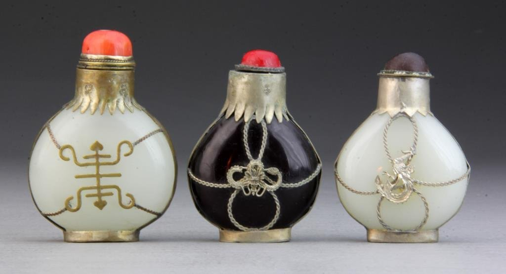 (3) Pcs Chinese Peking Glass and Metal Snuff Bottles