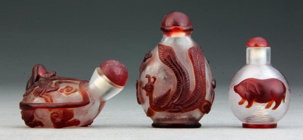 (3) Pcs Chinese Peking Glass Snuff Bottles
