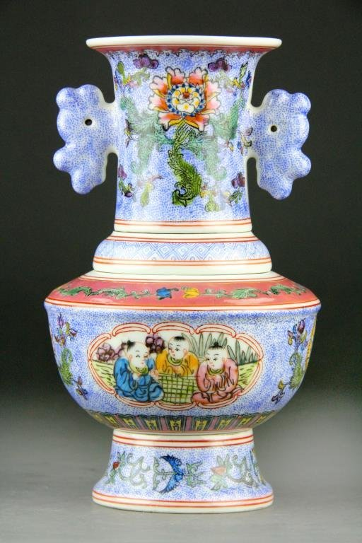 Chinese Famile Rose Sectional Vase