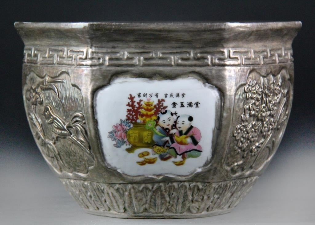 Large Chinese Porcelain Silver Gilt Pot