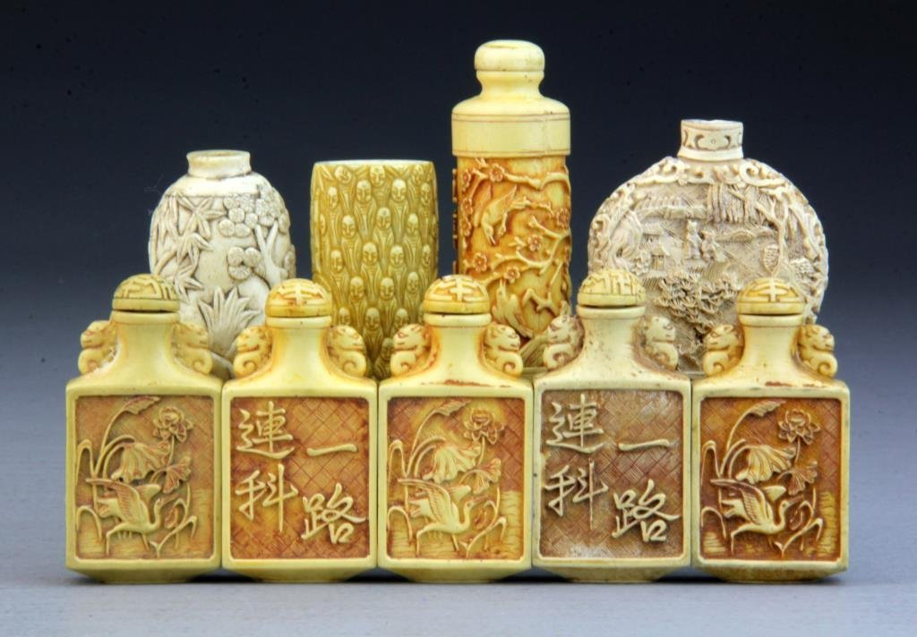 (9) Pcs Chinese Composite Snuff Bottles
