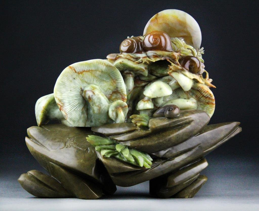 Chinese Jade Carving of Mushrooms and Snails