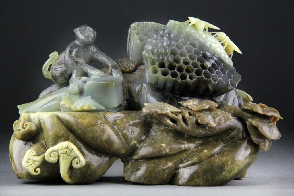 Chinese Jade Carving of Monkey, Honeycomb & Bees