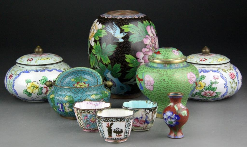 (9) Chinese Cloisonne Items - Covered Jars, Vases &