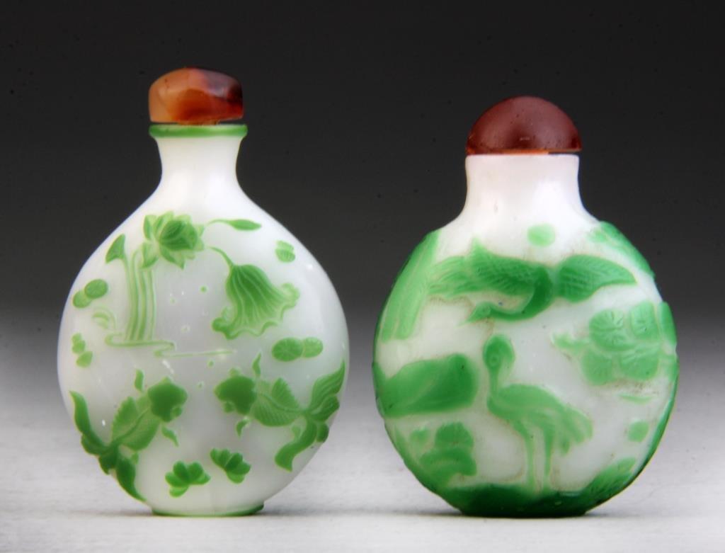 (2) Pcs Chinese Peking Glass Snuff Bottles