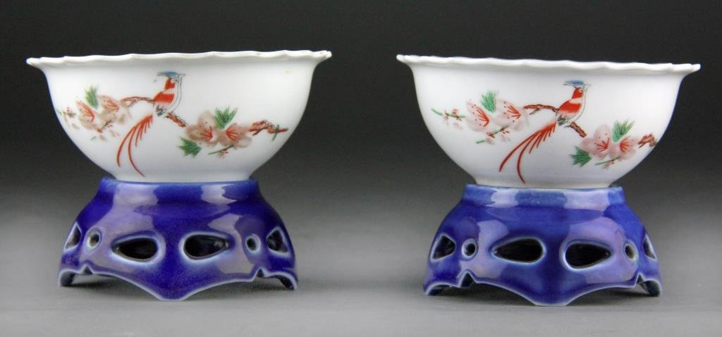 Pair Chinese Revolving Porcelain Bowls