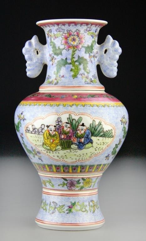 Chinese Porcelain Enameled Porcelain 4-Section Vase