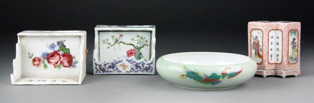 (5) Chinese Polychrome Scholars Porcelains