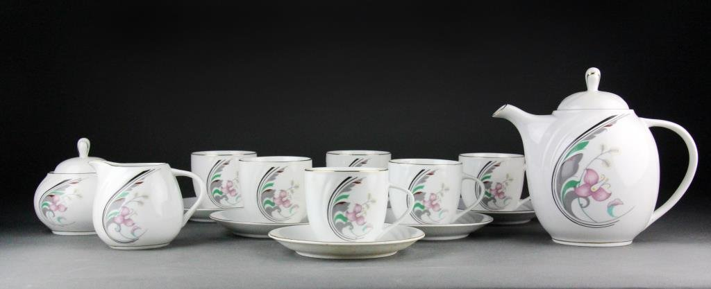 (15) Pc. Chinese Porcelain with Flower Decoration