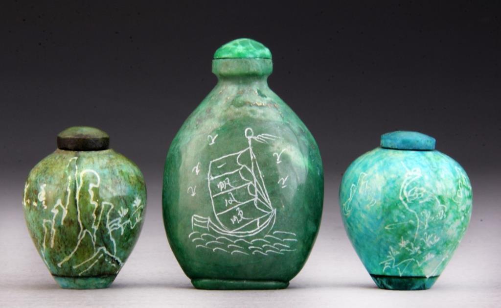 (3) Pcs Chinese Jadeite Snuff Bottles