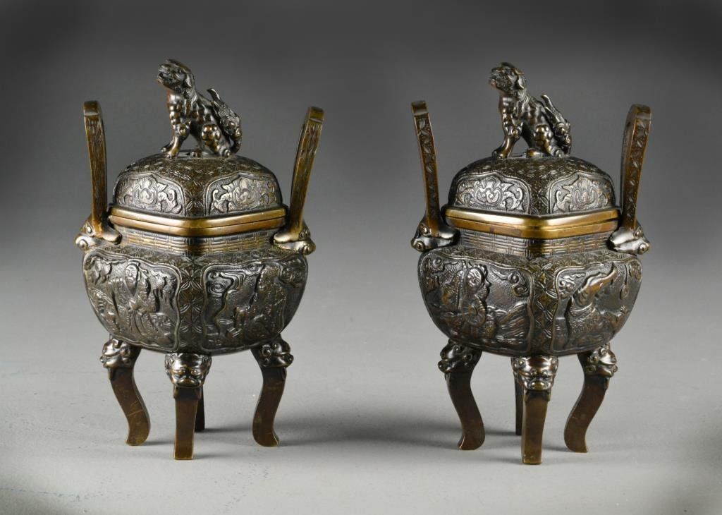 Pr. Of Finely Cast Chinese Bronze Censers & Covers