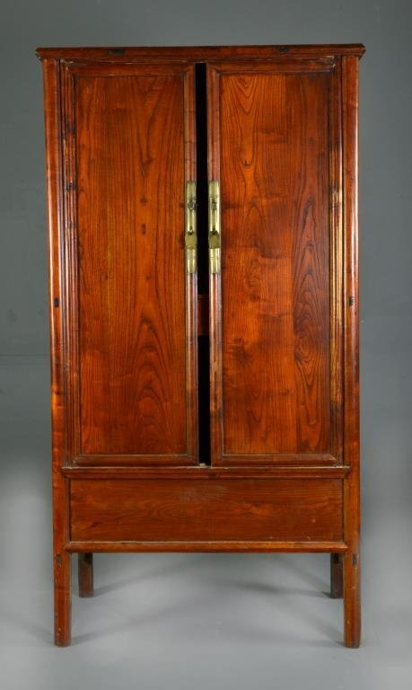 Chinese Hard Wood and Brass Fitted Wardrobe