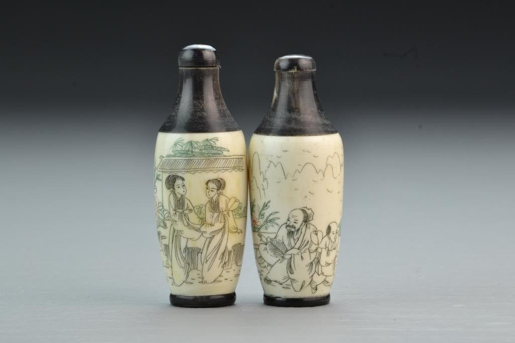 (2) Chinese Bone and Wood Snuff Bottles