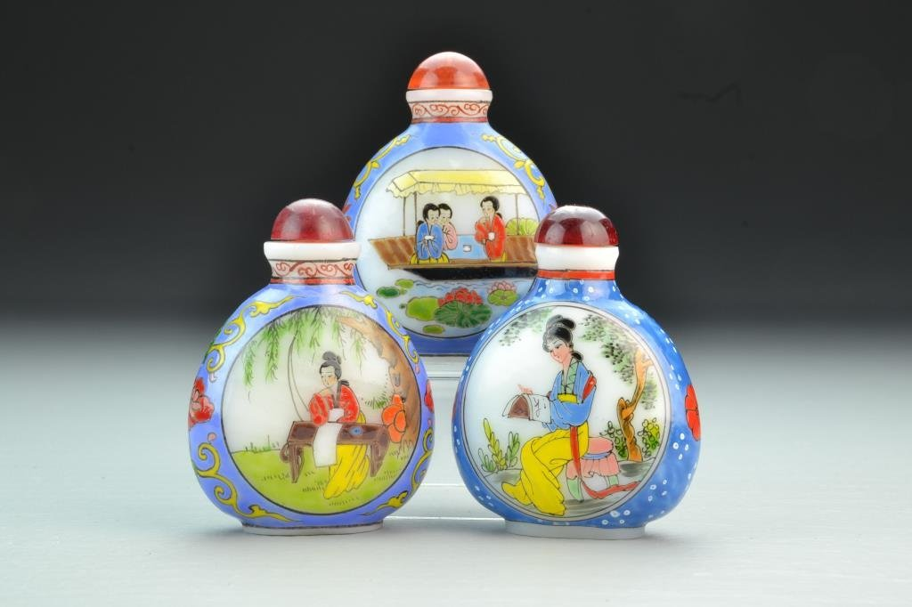 (3) Chinese Peking Glass Snuff Bottles