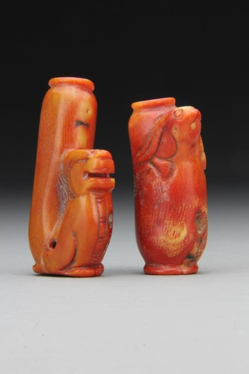 (2) Chinese Carved Coral Snuff Bottles