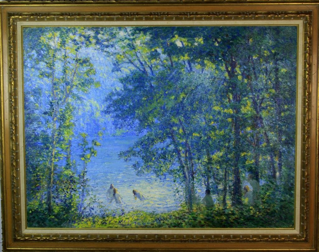 American Impressionist School Oil Painting on Canvas