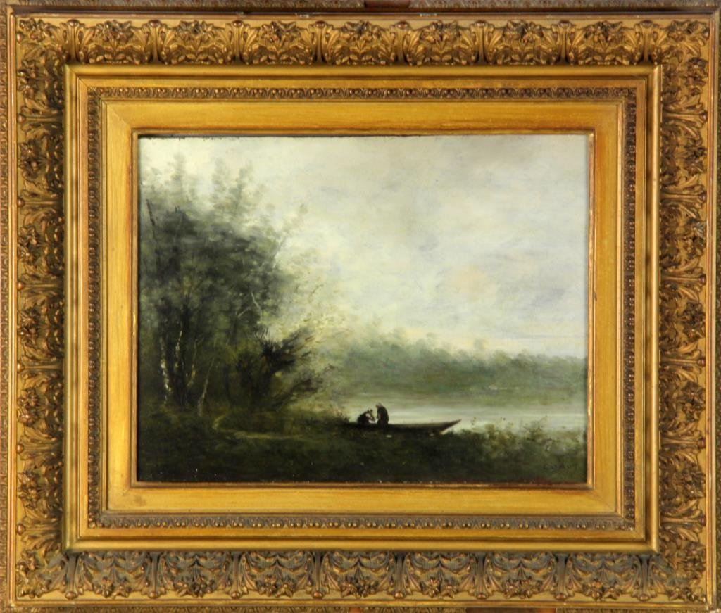 Attributed to Jean-Baptiste-Camille Corot Oil on Panel
