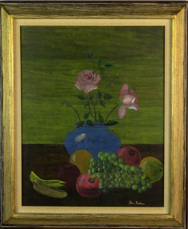 Ben Shahn Mixed Media Still Life Painting on Board