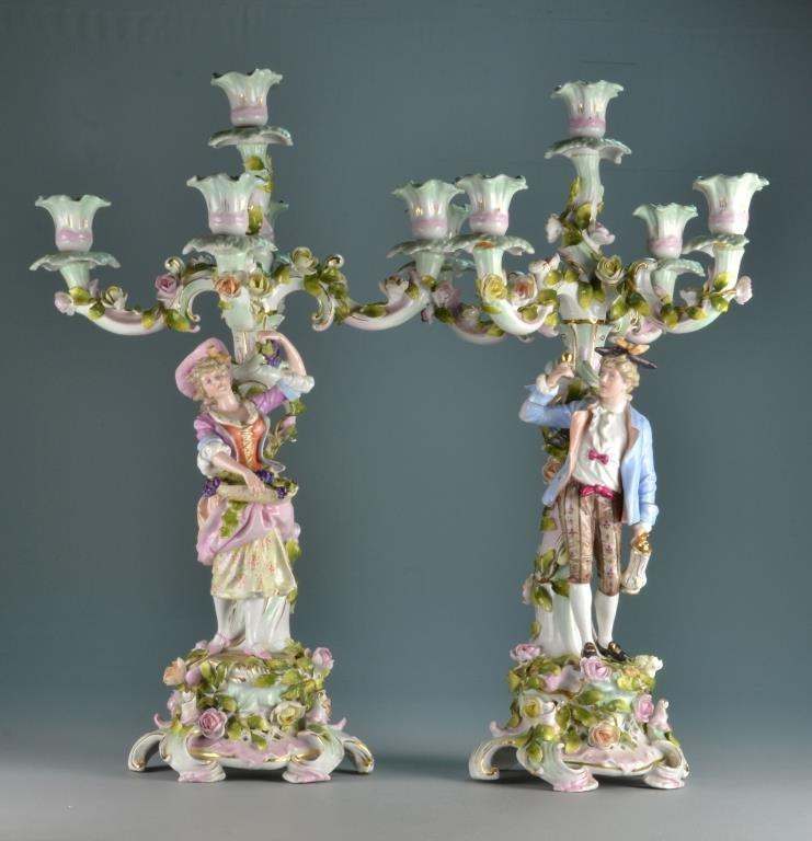 Pr. Dresden Five Light Figural Candelabra