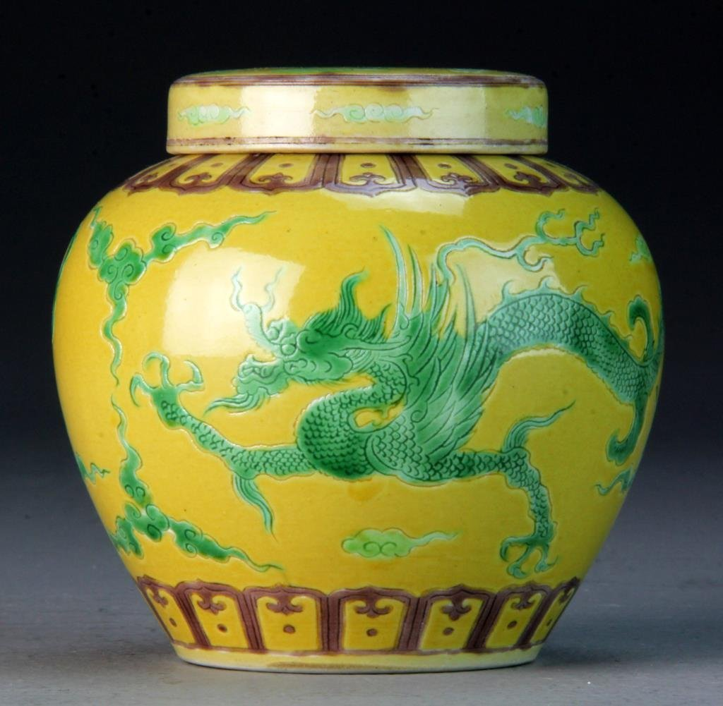 Chinese Green & Yellow Porcelain Covered Urn