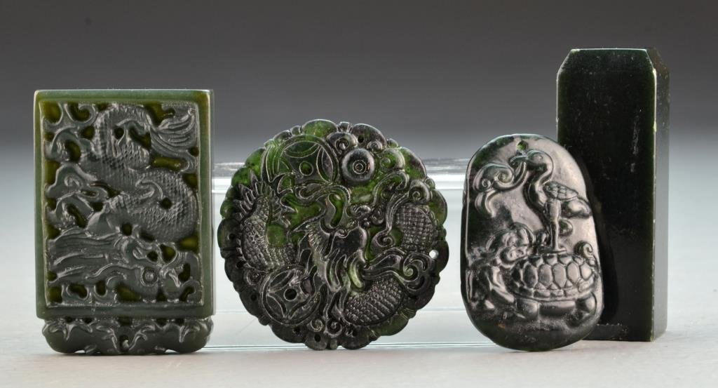 (4) Pcs. Chinese Carved Hardstone