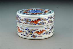 Chinese Blue White  Iron Red Porcelain Covered Box