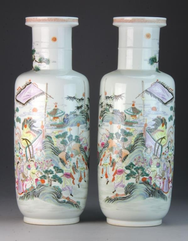 Pr. Large & Fine Chinese Bang Chui Vases