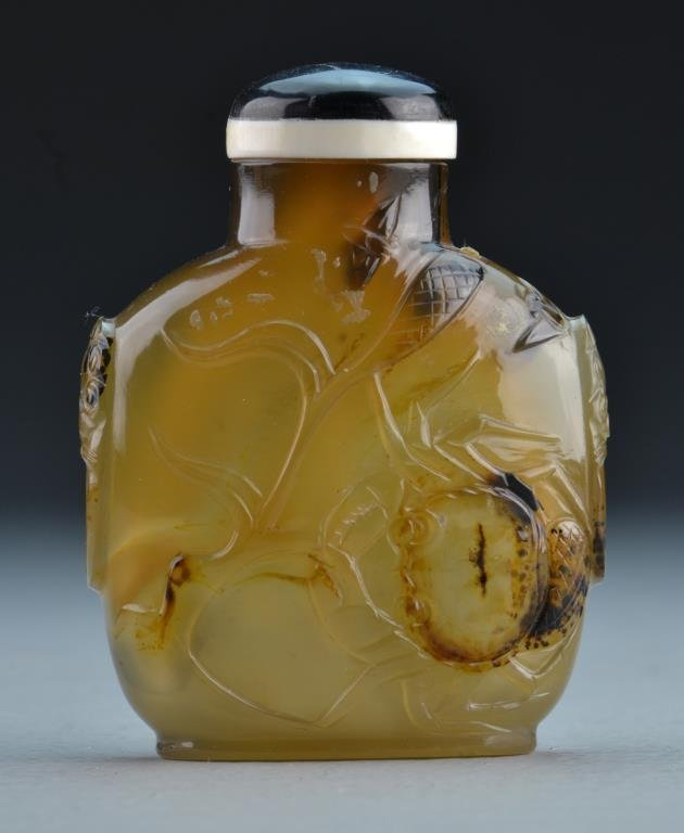 A Chinese Carved Agate Snuff Bottle