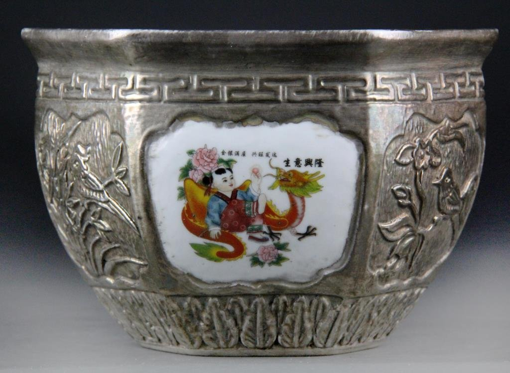 Large Chinese Porcelain Silver Gilt Pot - 2