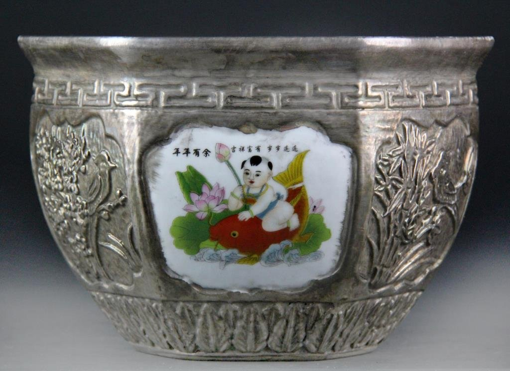 Large Chinese Porcelain Silver Gilt Pot - 3