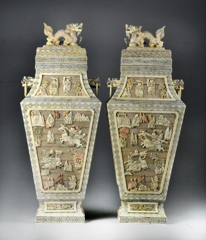 Pair Chinese Carved & Polychromed Faux Ivory Urns