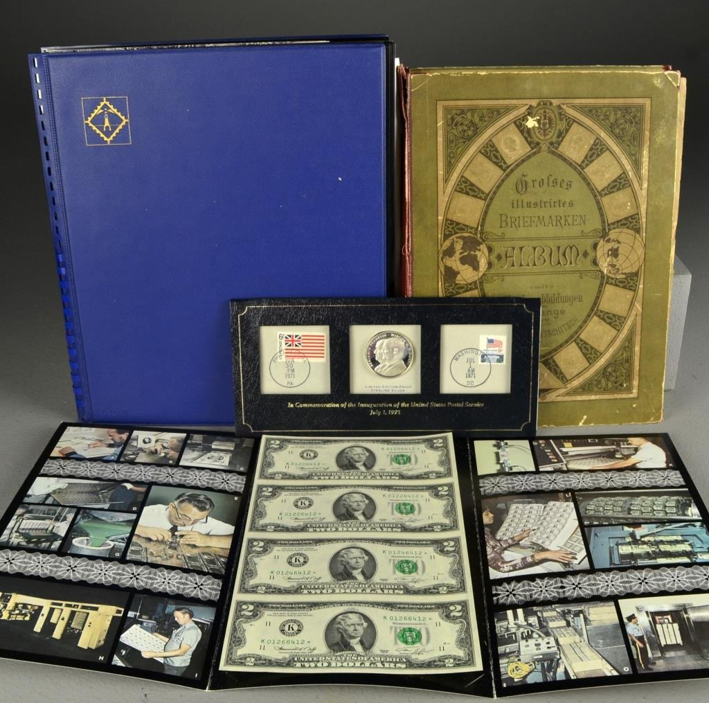 (6) Proof Silver Coin, Uncut Bills, Stamps, Old Bills,
