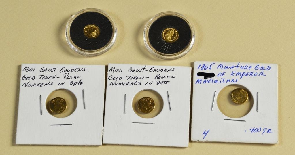 (5) Mini Gold Clad Coins