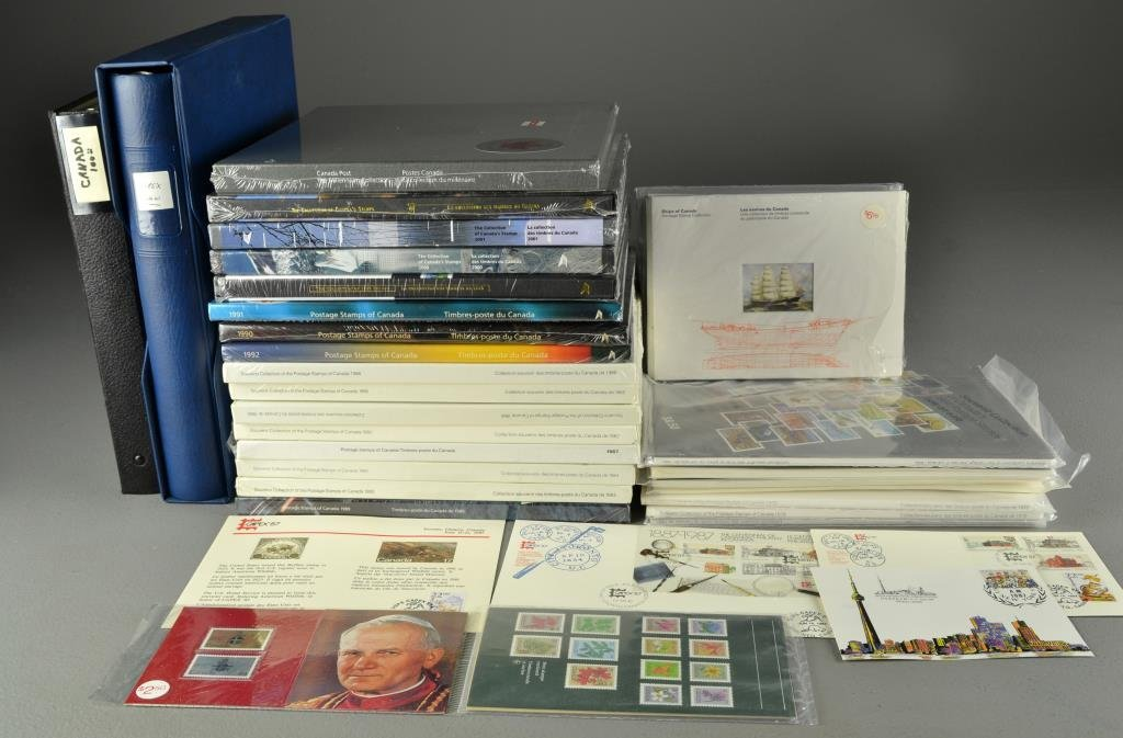 Box Lot Of Canadian Stamps, 1st Day Covers, Albums,