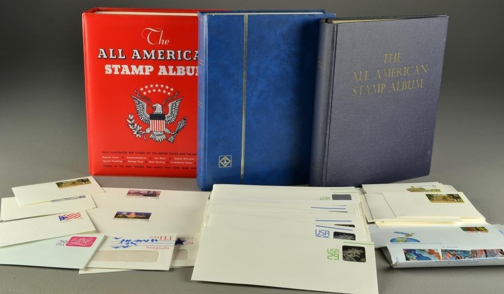 (4) U.S. Stamp & Stock Albums & Unused Postcards