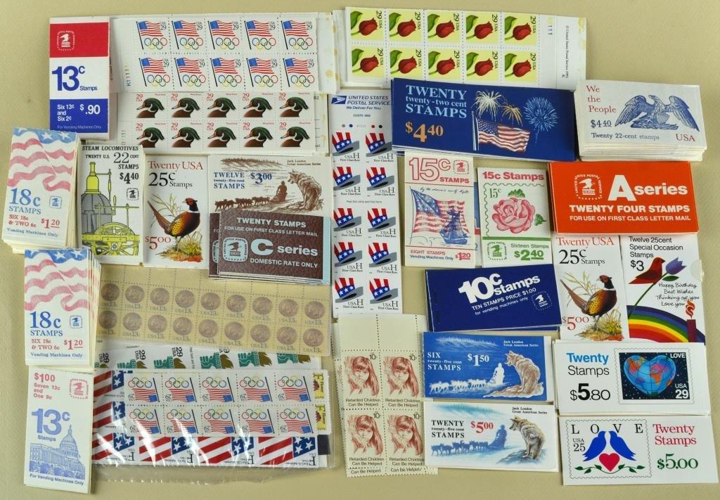 $ 250.00 Plus Mint U.S. Stamp Booklets & Blocks